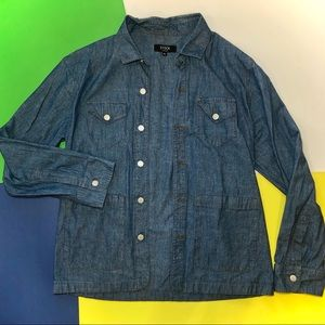 XL DENIM BUTTON UP STOCK CHICAGO CO